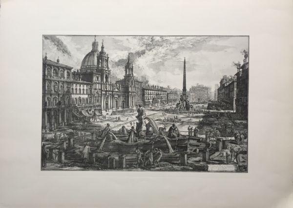 """""""Veduta di Piazza Navona"""" -  XIX sec. - incisione a bulino Piranesi"""