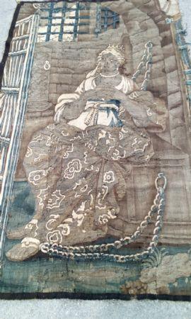 Arazzo in lana e seta, raffigurante la regina Zenobia, epoca 1680 circa, Aubusson, Francia, cm 198 x 108