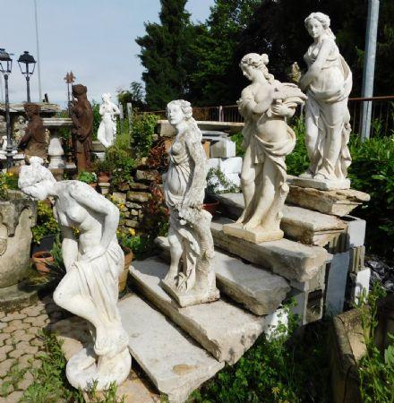 dars345 - n. 4 statue in pietra artificiale, mis. tot.cm 42 x cm 160 h