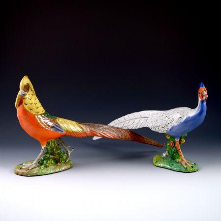 Coppia di grandi uccelli <br>Manifattura Zaccagnini <br>Firenze, anni Quaranta/Cinquanta