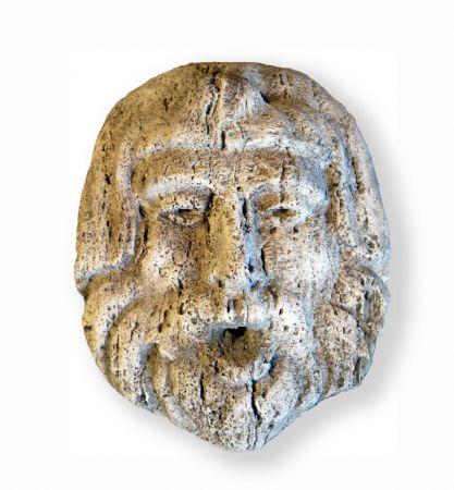 Antico mascherone in pietra. Epoca 1900.