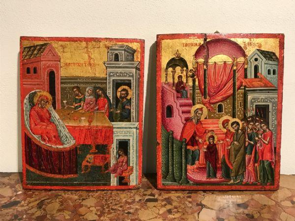 """Coppia di icone raff. """"Natività della Vergine"""" e """"Presentazione al tempio della Vergine"""" - lotti 2-3"""