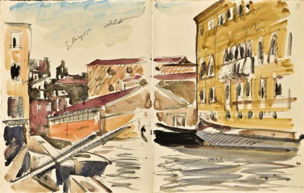 Venezia, il campanile di San Biagio e Cataldo dal canale, 27 aprile 1932