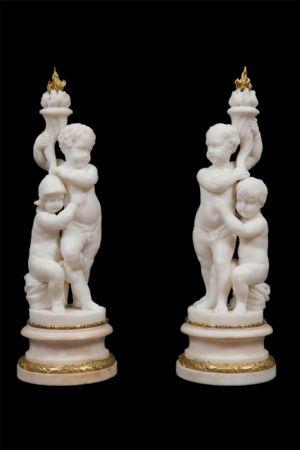 Coppia candelieri in marmo. Luigi XVI