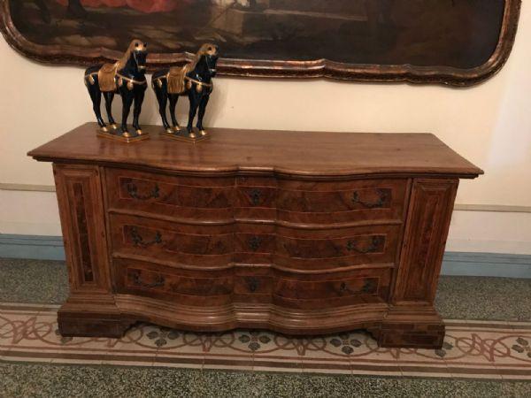 Credenza veneziana coperchio a ribalta un cassetto interni in arte povera bassano specchio - Mobili antichi arte povera ...