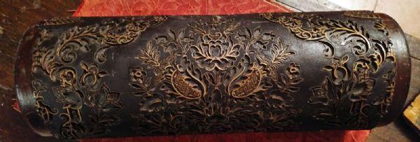Splendido rullo in legno ed ottone per la stampa di tappezzerie