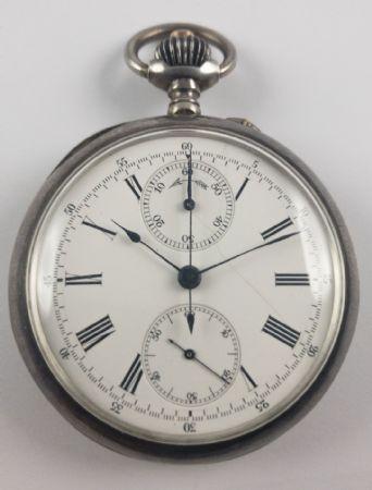 Orologio da tasca cronografo in argento, fine 800