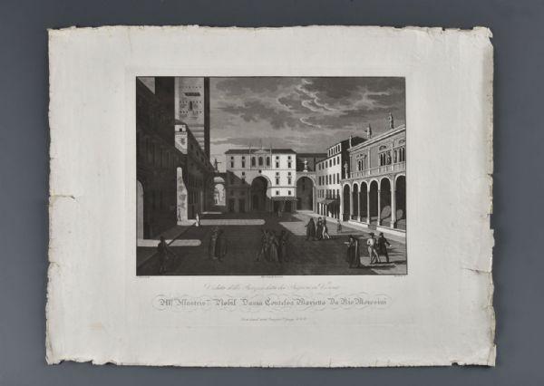 """Bennassuti Giuseppe """" Veduta della Piazza detta dei Signori in Verona """" Verona 1830 circa"""