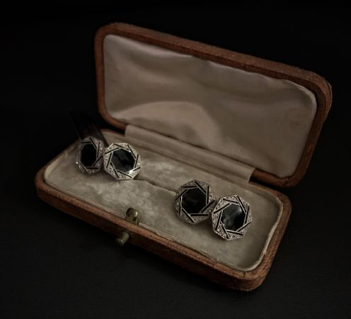 Gemelli  Onice  nero  e  Diamanti