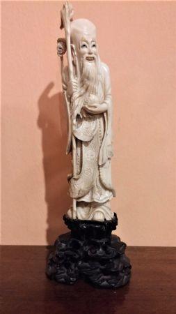 Statuetta in avorio, saggio orientale, fine '800