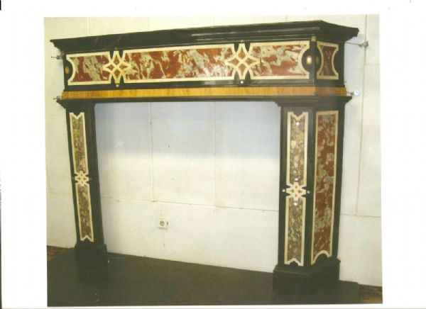 Fireplace In Black Marble Inlaid With Polychrome Marble And Mother