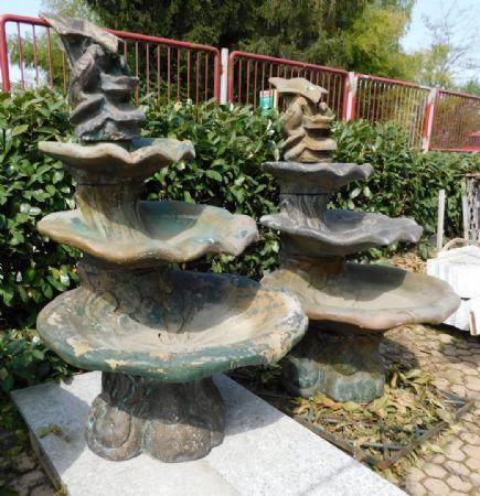 dars261  due fontane liberty a foglie di ninfea,h160 x 80 cm