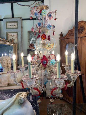 Lampadario in vetro di Murano 8 fiamme