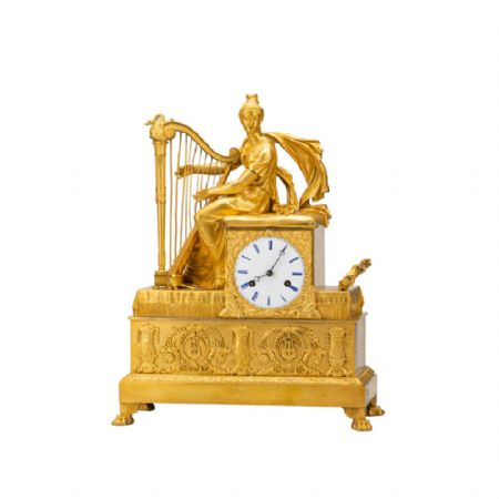 Orologio da appoggio francese in bronzo dorato al mercurio
