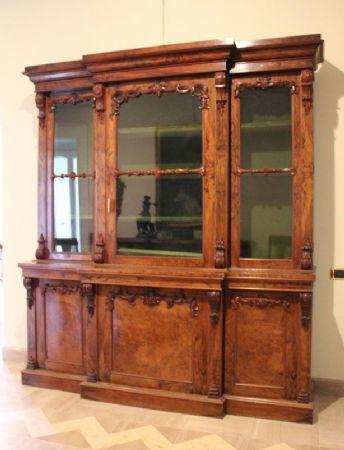 Libreria antica a tre ante con vetrina, libreria in legno antica ...