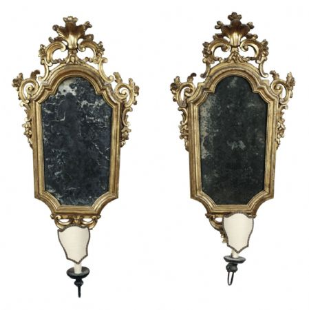 Splendica coppia di specchierine in legno dorato e intagliato, Venezia XVIII secolo