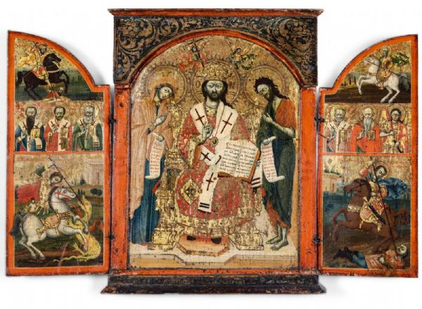 Straordinario Trittico Greco fondo oro, XVII° secolo.