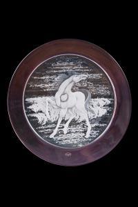 Aligi Sassu (Milano 1912 – Pollença 2000) Piatto in vetro con cavallo