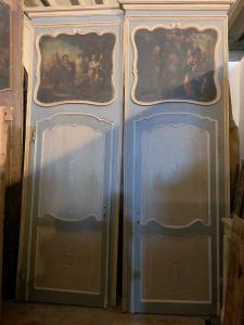pts721 - n. 6 lackierte Türen mit Rahmen und Anstrich, cm l 115 xh 338
