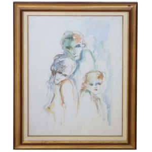 Acquerello Ernesto Treccani (Milano 1920 - 2009), Nudi PREZZO TRATTABILE