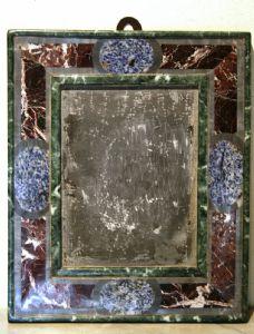 FRAME IN STONES, BASE BOARD WITH GREEN ALPS INTARSIATA, BRECCIA MEDICEA, lapis-Florence, sec.XIX - 38CMX31,5 THICKNESS 3.5 cm