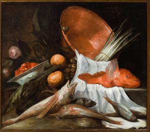 静物鱼,蔬菜,玫瑰和铜盆