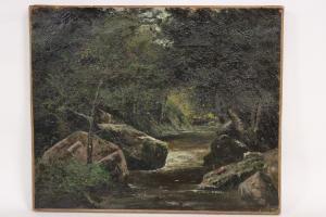 十九世纪河上的油画