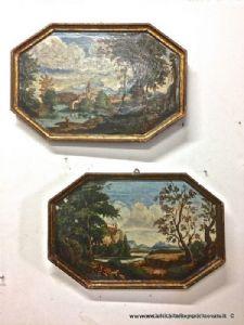 古代八角形油画在木头上的镀金框架