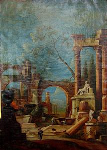 ARCHITECTURE WITH RUINS AND FIGURES IN LANDSCAPE ITALICO