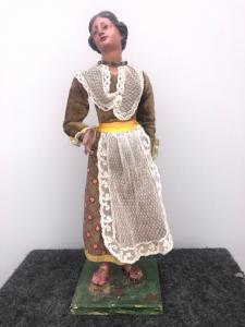 Krippenfigürchen in gemaltem Holz, das ländliche Frau darstellt genua