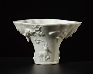 Rare libation cup in Blanc de Chine porcelaine, Dehua, 18th c.