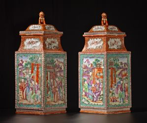 PAIR OF RHOMBOID VASES WITH COVERS