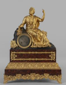Large bronze Charles X clock depicting a poet, France 19th century