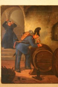 PRESENT AND AUSTRIAN OIL PAINTING FIRST PAINTING - SIGNED AND DATED 1842 - ALT.34,5CN LARG.27CM