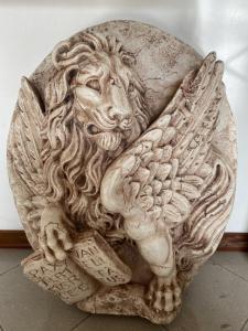 Leão de São Marcos em mármore 55x15x75h