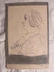 Pencil drawing on paper with profile of a Renaissance woman signed by F. Pietra 1906