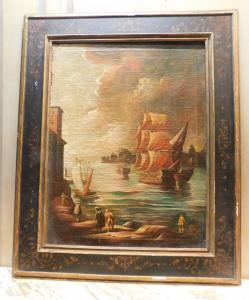pan266 - coppia di dipinti con vedute marine, epoca '700, cm l 94 x h 112
