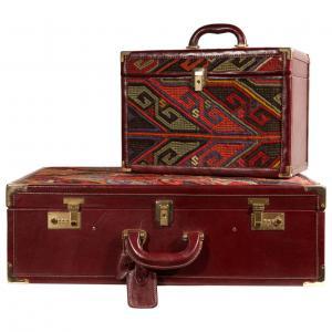 Vuitton模型的Kilim手提箱和化妆箱