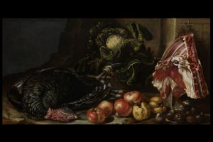 Bartolomeo Arbotori  (Piacenza, 1594 - 1676)  Natura morta con frutta ortaggi e tacchino