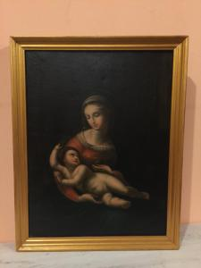 Oil painting on canvas Madonna with child
