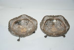 PAIR OF SILVER IN BASKETS