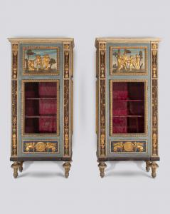 Important pair of late 19th century polychrome showcases.