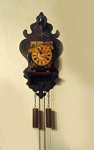 DUTCH CLOCK WITH STOOL FRIESIAN STOELKLOK