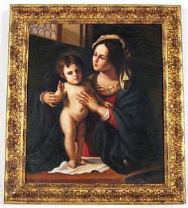MADONNA  COL  BAMBINO BENEDICENTE - olio su tela (copia antica dal GUERCINO)