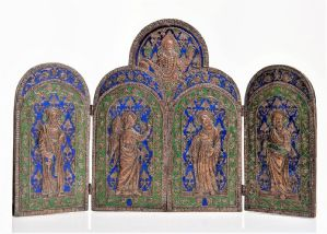 Extraordinary triptych in embossed copper and polychrome enamels