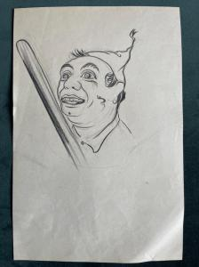 Pencil drawing on paper, character with stick.