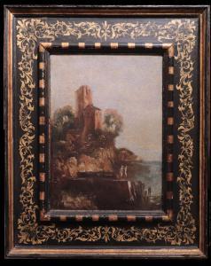 """Ölgemälde: """"Landschaft mit Häusern und Figuren"""", 18. Jahrhundert"""