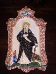 Formella devozionale in maiolica.Sant'Antonio.Faenza o Imola.