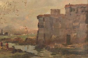 """""""Paesaggio"""" - Óleo sobre cartón de Antonio Cargnel, Óleo sobre cartón de Antonio Cargnel"""