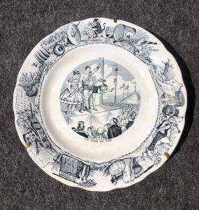 有描述马戏场面的标签装饰的陶器板材Choisy le Roy制造法国